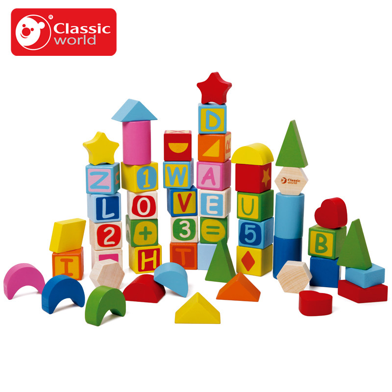 Classic World 56pcs wooden Color Building Blocks Children's Toy For Color & Shape Identification Exerciseand classic world транспорт