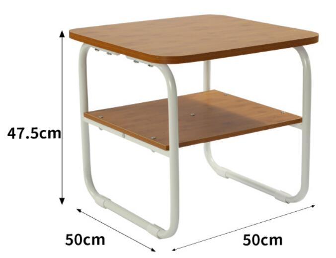 50*50*47.5CM Double-Layer Bedside Table Sofa Side Coffee Table Living Room Tea Table Modern Dining Table