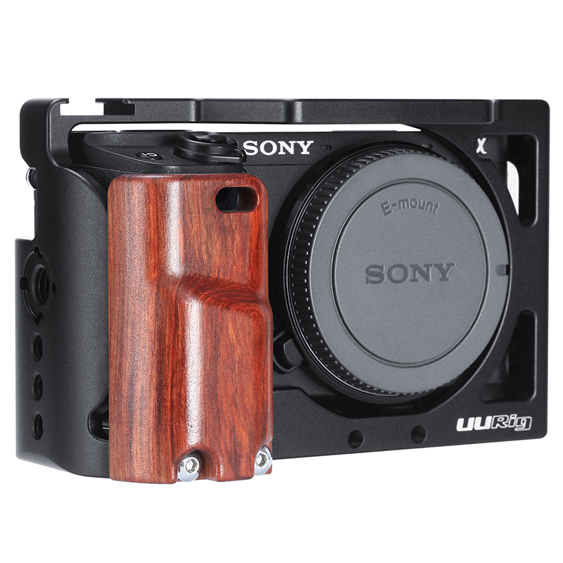 UURIG R009 Wooden Hand Grip For Sony A6400 A6300 A6100 Metal Cage Protective Case Camera Cage Stabilizer DSLR Camera Accessories