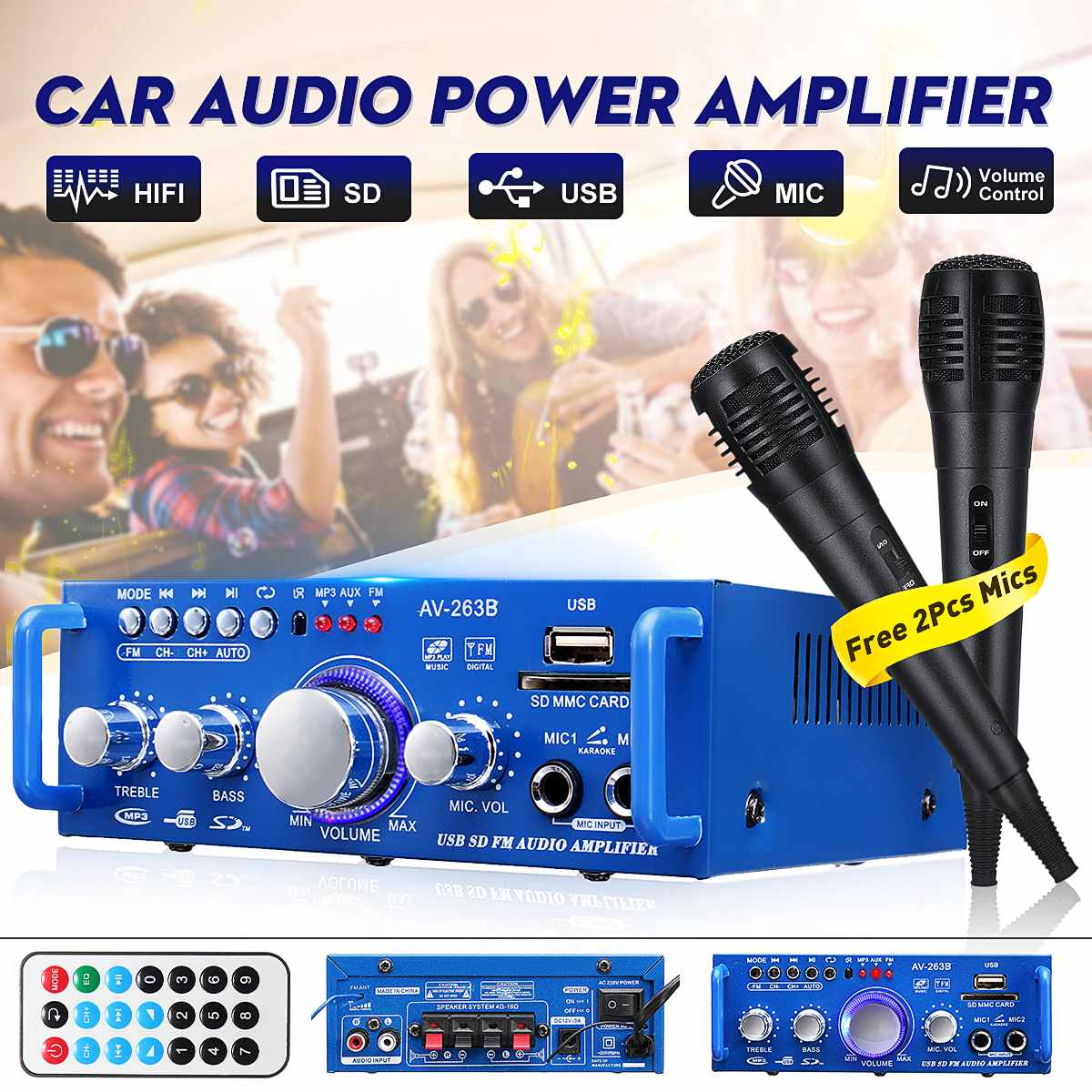 12V/220V 600W HIFI 2CH Car Bluetooth Stereo Power Amplifier Music Player Audio FM Radio Home Theater Amplifiers With Microphones