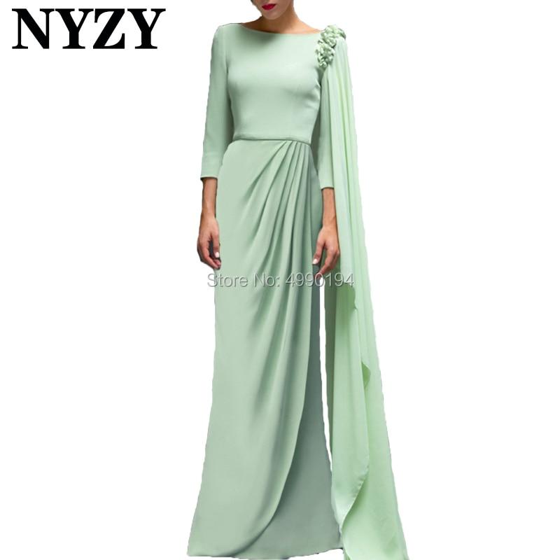 Robe de soirée 2019 NYZY E202 mousseline de soie menthe vert musulman arabe robes de soirée longue Robe Soiree Dubai abiye gece elbisesi