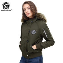 hydiber 2017 New Arrival Fur Hoodies Short Women Bomber Jackets Long Sleeve Army Green Winter outwear Girls Warm Tops Coat Parka