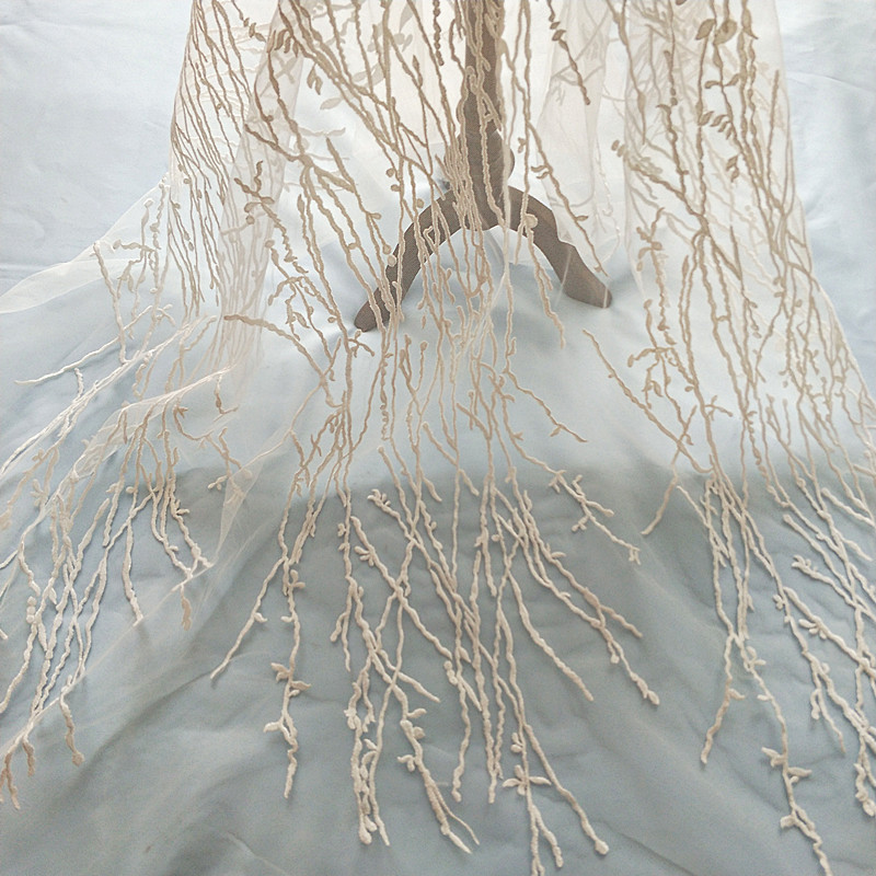5 yards Exquisite off white illuson soft tulle embroidery lace fabric, branch leaf bridal gown lace fabric by yard