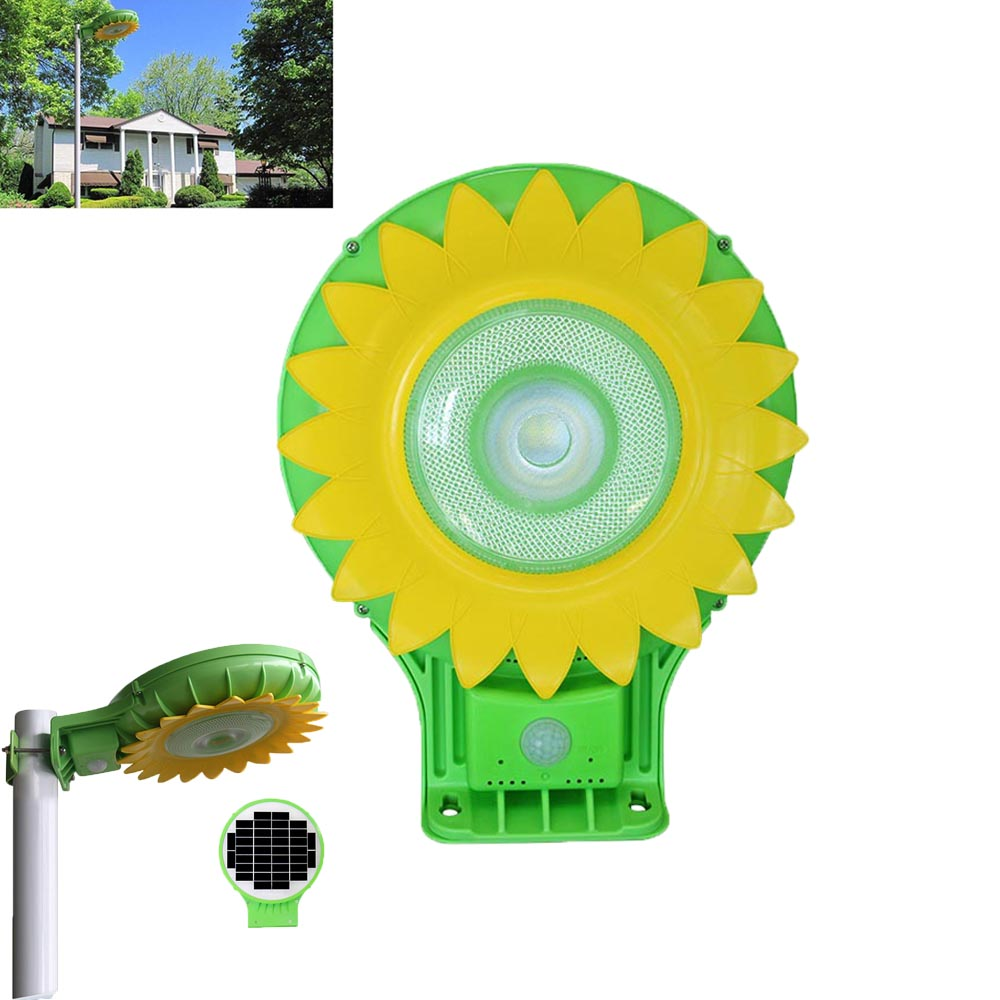 LED Solar Street Light New 5W Sunflower All in One Solar Panel LED Garden Lights Outdoor Solar Powered Motion Sensor Light youoklight 0 5w 3 led white light mini waterproof solar powered fence garden lamp black
