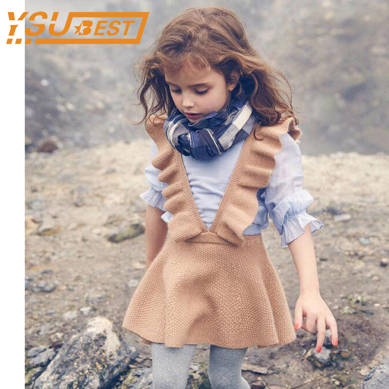 Autumn 2017 Girls Knit Sweater Dress Girl Kids Clothes Baby Girls Knitting Princess Dress Kids For Girl Robe Fille Kids Clothing bibicola baby girls dress casual kids autumn girl clothes polka dots dress kids clothes cute dress girls party dress