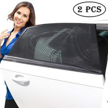 2Pcs Universal car side window sunshades sunscreen breathable mesh UV protection rear curtain cover net