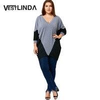 VESTLINDA Color Block Plus Size Dolman Sleeve Top Casual Women T Shirts Large Size XL 5XL