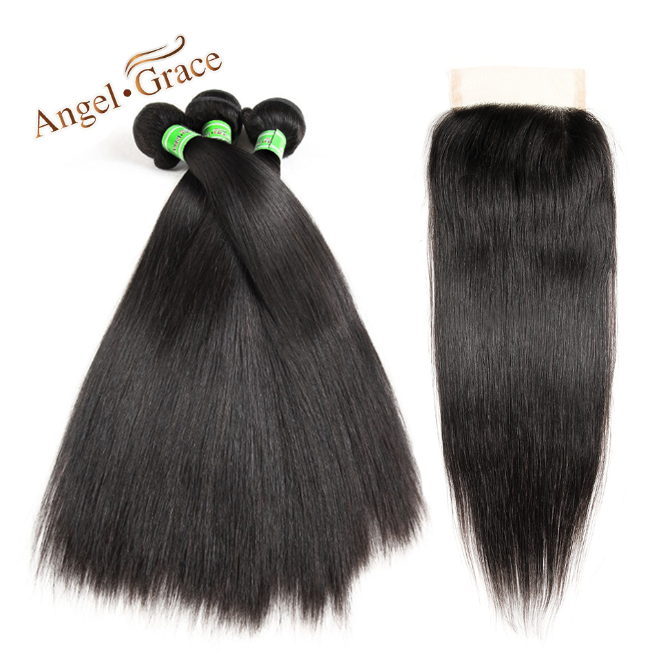 ANGEL GRACE Indian Hair Weave Straight Hair 3 Bundles With Closure Remy Hair Natural Color Human