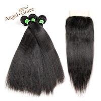 ANGE GRÂCE Cheveux Indiens Armure Cheveux Raides 3 Bundles Avec Fermeture Remy Cheveux Couleur Naturelle de Cheveux Humains Bundles 4 pcs Lot