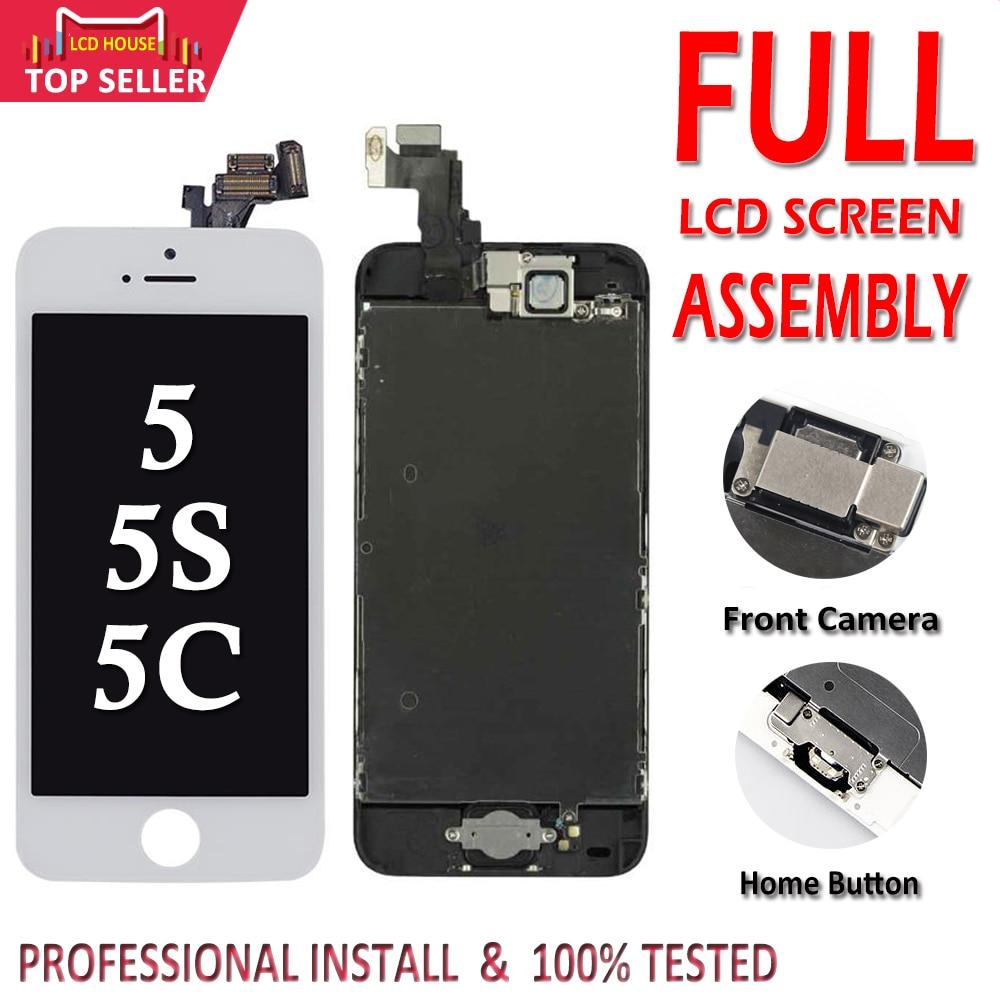 Дисплей для iPhone 5 5S 5C в сборе с тачскрином, с фронтальной камерой, черный, белый