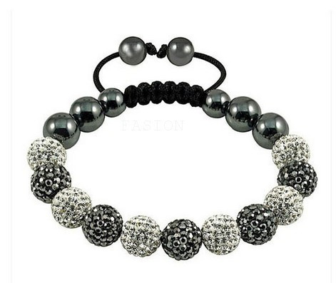 Free shipping!Handmade White Gray Mixed Multicolor 10mm Micro Pave Disco Ball Bead Crystal Shamballa Bracelet women men jewelry