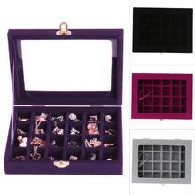 где купить 12/24 Grid Ring Ear Studs Jewelry Storage Display Box 20x15 x 4.5cm Sueded Wedding Jewelry Case Holder Storage Organizer 2019 дешево