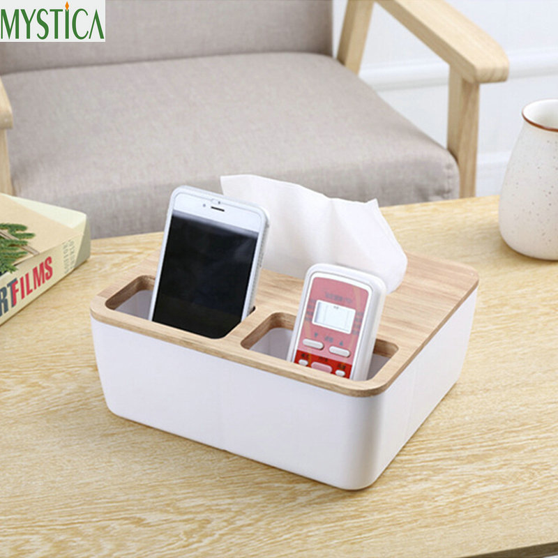 Creative Wooden Tissue Box Modern Household Living Room Storage Box Pumping Paper Holder Case Home Decoration Organizer Boxes