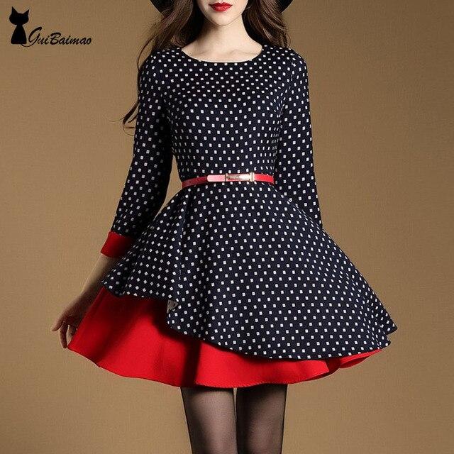Women's Vintage Inspired  Dress Three Quarter Sleeve Layered Skater Dress  Dot Pattern Cute Dress