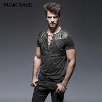 PUNK RAVE Steampunk Black Soilder Man Open Collar Short Sleeve Cotton T shirt Heavy Metal Rock Top Short Sleeve Tees Tied Rope