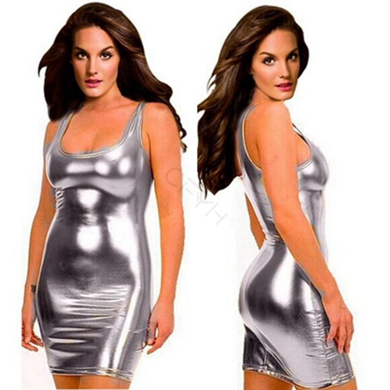 CFYH 2018 New Hot sale Women Sexy Leather Dresses Latex Club Wear Costumes Clothing PVC Dress Plus Size 5XL