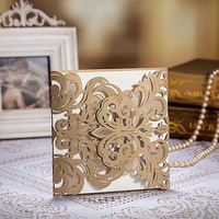 50pcs Gold Laser Cut Lace Hollow Wedding Invitation Card Greeting Cards Postcard Customize Printing Wedding Event