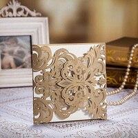 50 pcs Ouro Laser Cut Lace Oco Cartão Do Convite Do Casamento Fontes Do Partido Do Evento Do Casamento Personalizar a Impressão de Cartões de Saudação Cartão Postal
