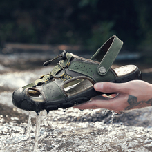 Clorts/уличная пляжная обувь из натуральной кожи; мужские походные сандалии; легкие Нескользящие шлепанцы для плавания для мужчин
