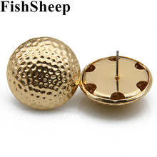 FishSheep Statement 3 Color Round Button Stud Earrings For Women Vintage Gold/Silver Half Beads Earring Jewelry Gift
