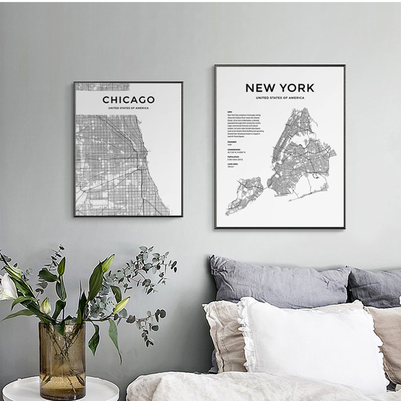 Modern-Minimalist-Black-and-White-City-Maps-Travel-Contour-Map-Pictures-Canvas-Paintings-Poster-Print-Wall