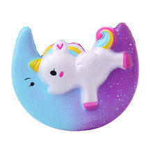 New 11CM Cute Rainbow Moon Flying Horse Squishy Jumbo Slow Rising Soft Squeeze Kawaii Cake Charm Bread Kid Toy Gift Dropshipping(China)