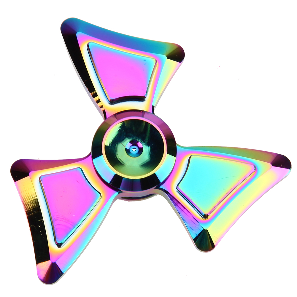 Colorful Rainbow Hand spinners Metal Fidget Spinner For Autism and ADHD Kids Spiner Tri Finger Toy