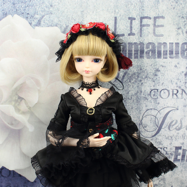 Forturn Days Clothes for 1/4 BJD Joint Body 45cm Black Lace Dress Stocking with Hair Band Free Shipping