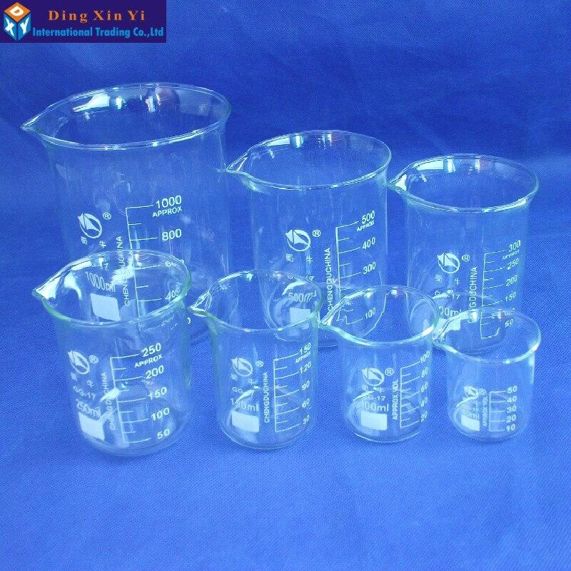 ФОТО SHUNIU Glass Beaker 7 Pcs Set 50, 100, 150, 250,300,500,1000ml Low form with graduation Glass Chinese famous brand
