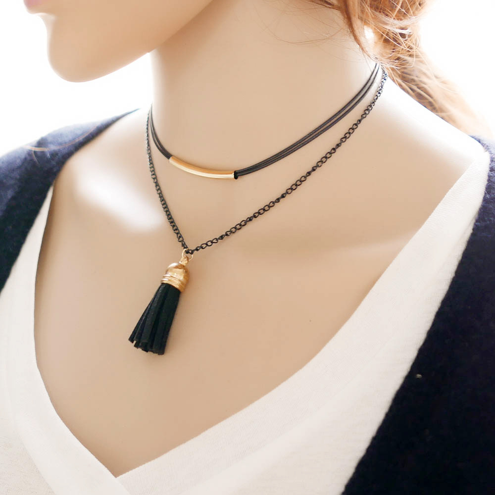 Fashion Charm Beads Leather Tassels Pendant Long Chain Sweater Necklace Jewelry