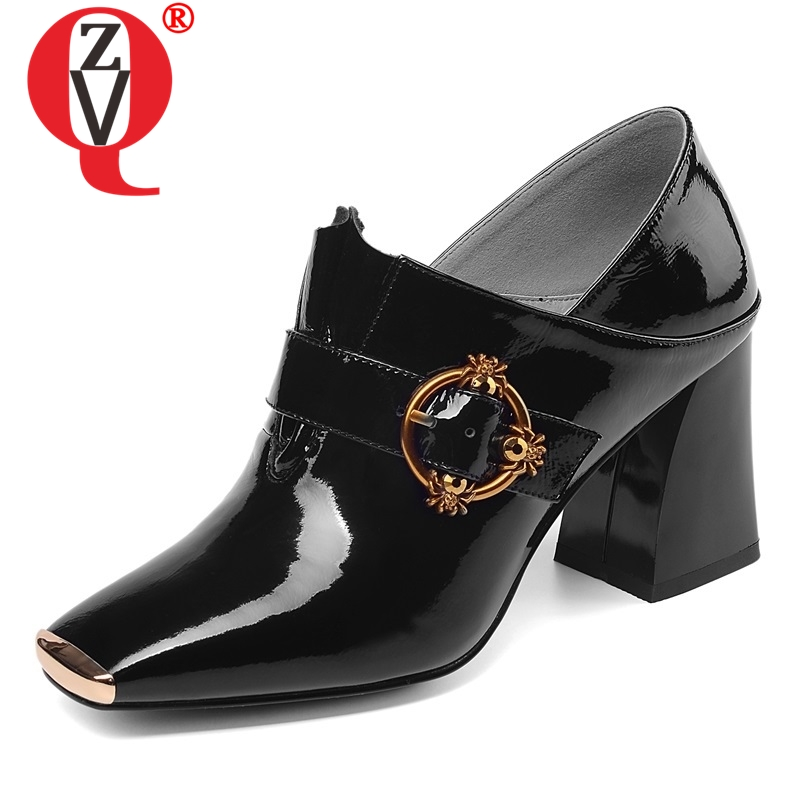 ZVQ shoes women 2019 spring new fashion patent leather women pumps high square heel metal decoration