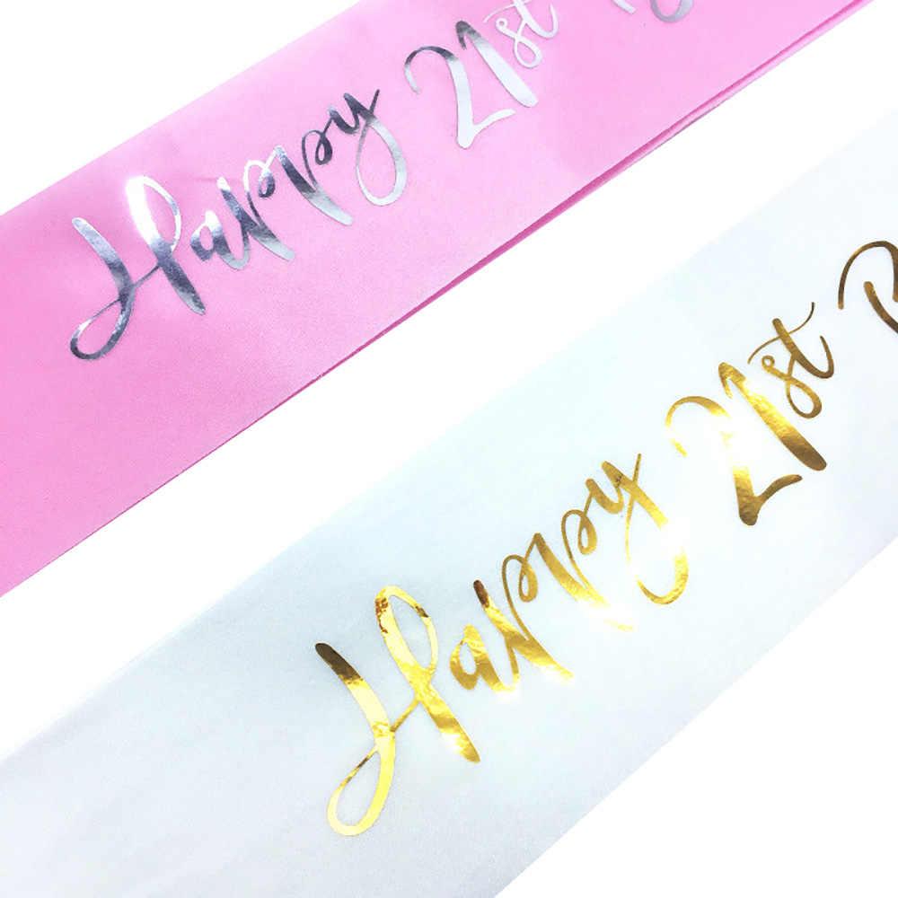 グリッターハッピー 21st 誕生日女のためのサテンのサッシュ 21st 誕生日パーティーの装飾用品アイデア好意ギフト黒、白、ピンク