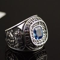 Thailand Imports Genuine Oriental Vibrations Black Dragon White Tiger Blue Diamond Sterling Silver Ring