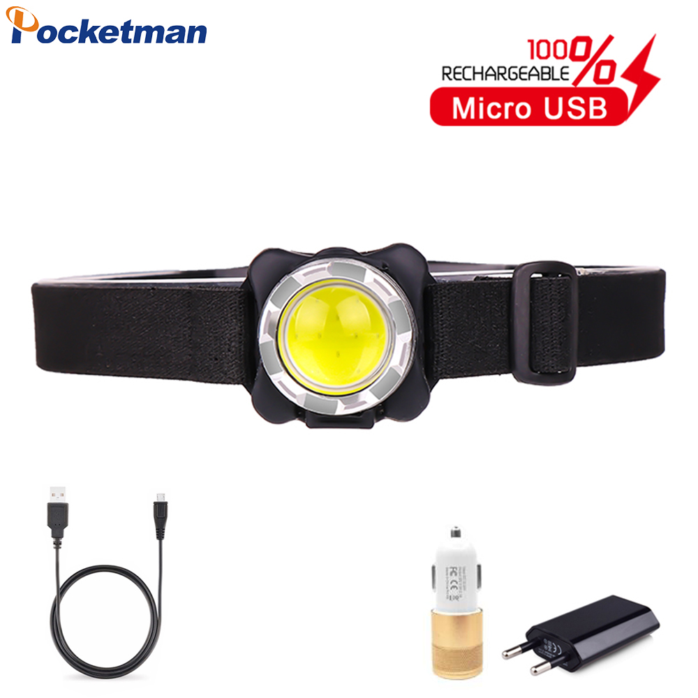 Powerful Headlamp USB Rechargeable Headlight COB LED Head Light With Built-in Battery Waterproof Head Lamp White Red Lighting