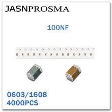 JASNPROSMA 4000 Uds 0603 1608 X7R Y5V RoHS 25V 50V 10% de 20% 100NF 104 SMD de alta calidad condensador K Z Nuevos artículos 0,1 UF
