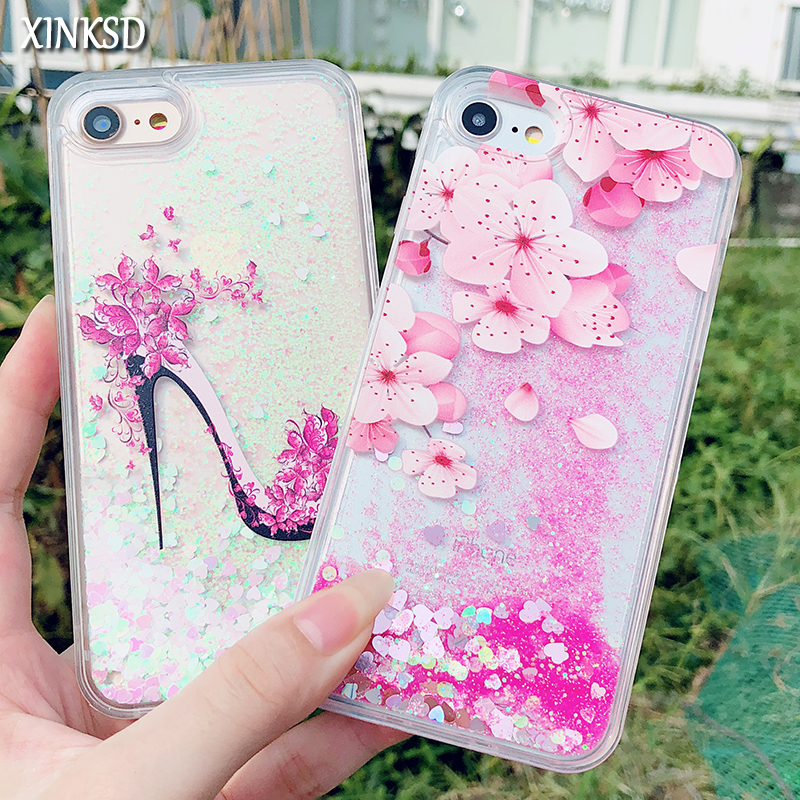 huge discount f405a 8fa26 US $2.47 38% OFF|For iPhone 8 7 6 6S Plus X Dynamic Liquid Glitter Case  Romantic Peach Dlower Quicksand Cases For iPhone 7 Girl Style High Heels-in  ...