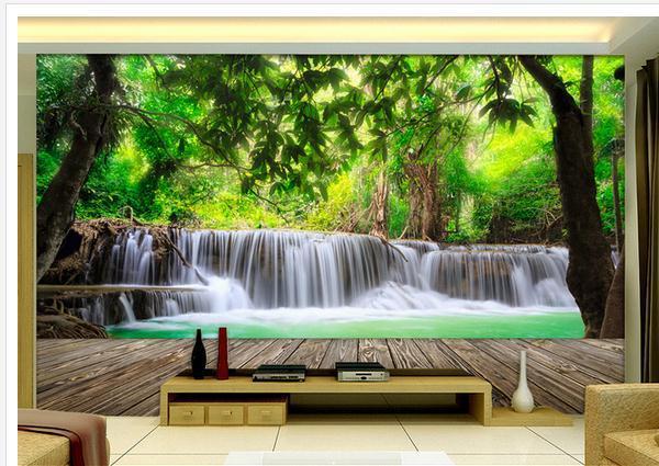 Wallpaper Dinding Pemandangan 3d Hutan Kayu Air Terjun Pemandangan 3d Wallpaper Mural