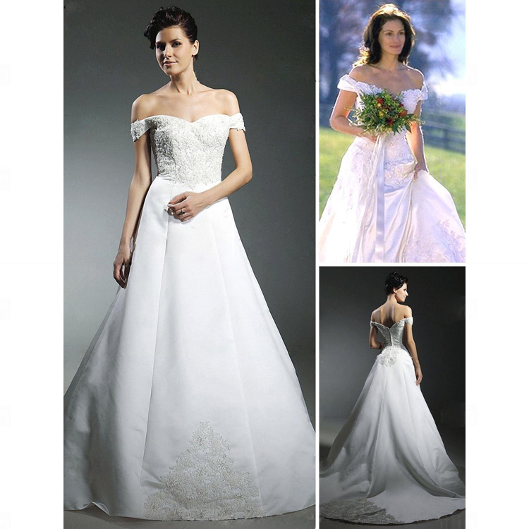 Free Shipping Julia Roberts Runaway Bride Ball Gown Off the
