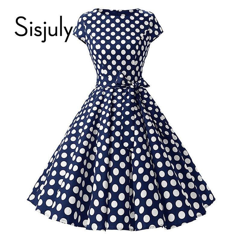 Sisjuly 1950 S Ретро платья женщин в горошек с бантом линия pin up О-образным вырезом элегантный чай РОКАБИЛЛИ vintage женская летняя обувь платье 2018