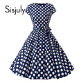 Sisjuly 1950-х годов ретро платья женщины горошек бантом линия черный элегантный чай рокабилли старинные женщины лето короткое платье 2019