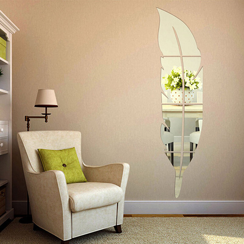 DIY Art Wall Stickers Feather Style Acrylic Mirror Wall Stickers Home Room Mural Decorat ...