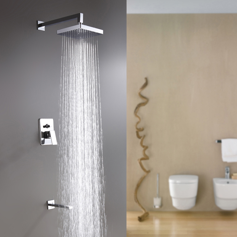 Us 100 1 14 Off Square 8 Inches Faucet Bathroom Rainfall Shower Set Faucet Mixers Taps Chuveiro With Down Water Jets Hg 891 In Shower Faucets From