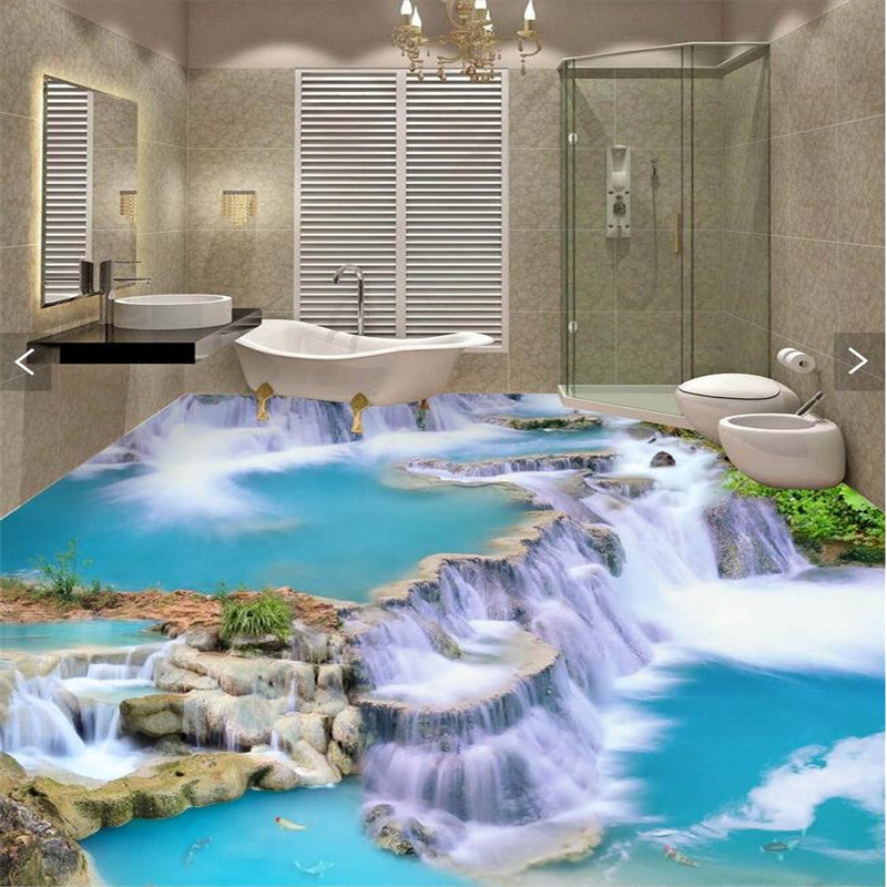 Floor painting 3d wallpaper clear river stone bathroom for Bathroom mural wallpaper
