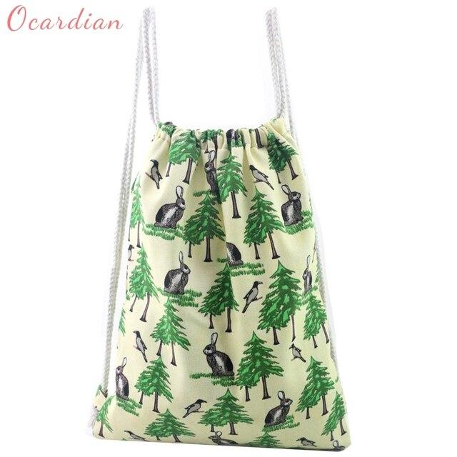 OCARDIAN mochila Fashion Unisex Rabbit Print Backpacks Printing Bags  Drawstring Backpack Made in China Casual  30 2018 Gift 96da3049e00af