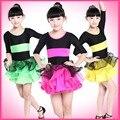2015 Fringe dança menina dança latina vestido Performance de palco de salão vestidos de dança de salão estágio crianças trajes de dança L083