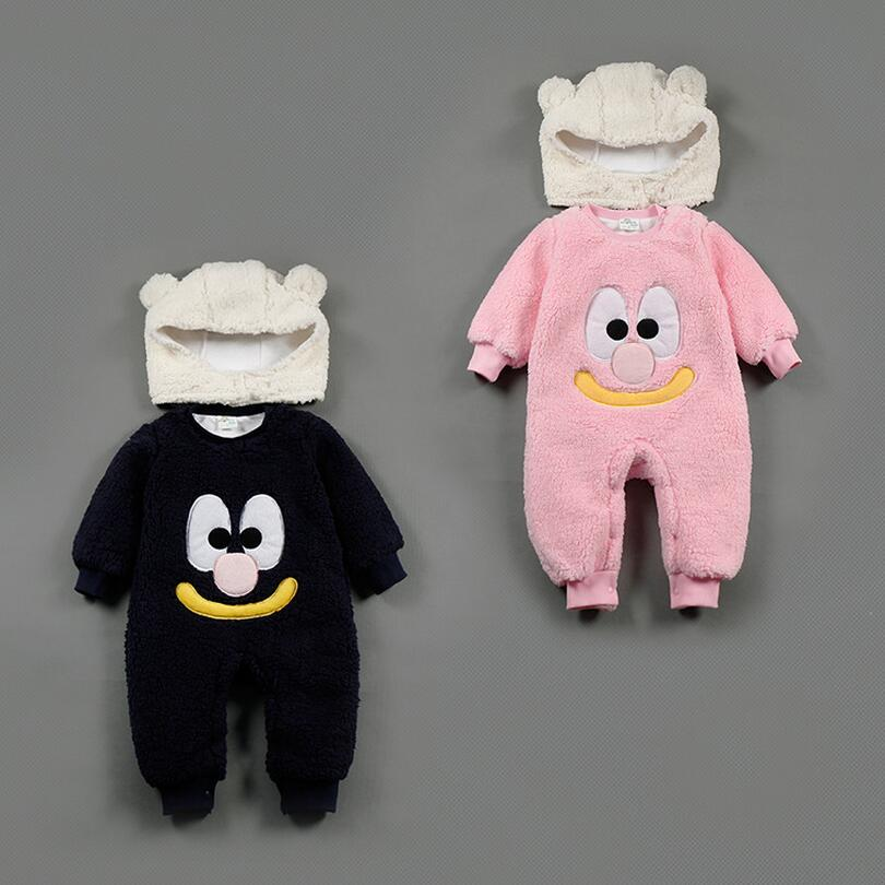 Warm Fleece Baby Boys Baby Girls Autumn Winter Black Pink Halloween Costume Jumpsuit Cute Big Nose Outfit with Hat 12M-24Months