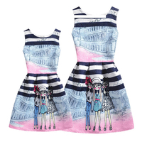 Fashion Sleeveless Mother Daughter Dress Summer Party Mom Girls Dresses Vestidos Mommy And Me Clothes Family