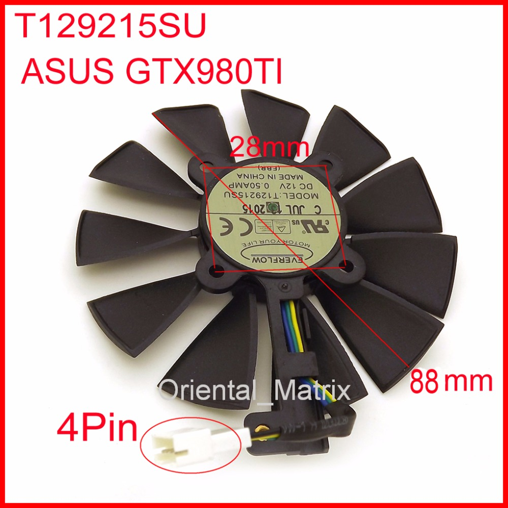 Free Shipping T129215SU 12V 0.5A 88mm 28*28*28*28mm 4Pins For ASUS GTX980TI Graphics Card Cooler Cooling Fan free shipping t129025su 12v 0 38a 4pin for asus hd7970 hd7950 gtx680 directcu ii graphics card fan