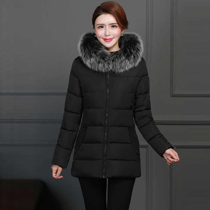 Femminile Caldo Inverno Giacca di 2019 Donne di Modo di Inverno cappotto Con Cappuccio di Volpe Falso Collare Imbottiture Cappotto Del Cotone di Grandi dimensioni 5XL Femminile cappotto