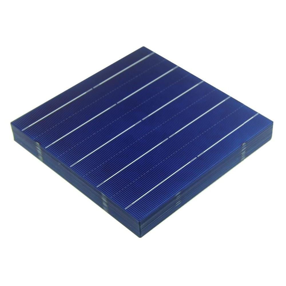 100 pièces 4.5W 156MM cellules solaires polycristallines photovoltaïques 6x6 pour système de panneaux solaires bricolage